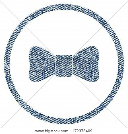 Bow Tie textured icon for overlay watermark stamps. Blue jeans fabric vectorized texture. Rounded flat vector symbol with dust design. Circled blue ink rubber seal stamp with fiber textile structure.