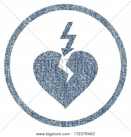 Break Heart textured icon for overlay watermark stamps. Blue jeans fabric vectorized texture. Rounded flat vector symbol with dust design.