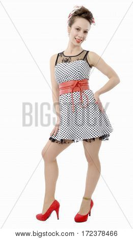 smiling woman dressed in pin-up style on white background
