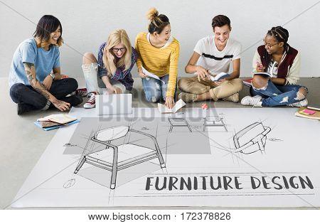 Armchair furniture sketch plan draft