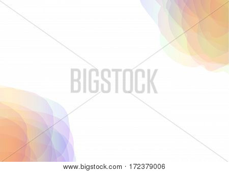 rainbow petal abstract on the corner of background, floral collage wallpaper, soft curve transparent template, vector illustration