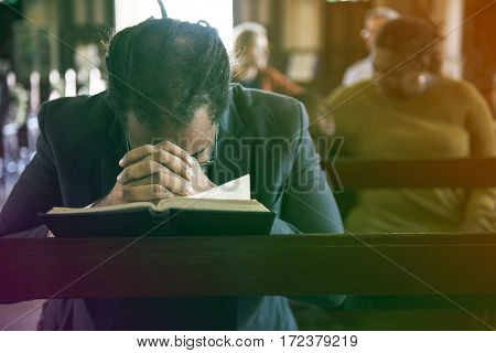 Adult Man Pray Bible Church Faith Religion