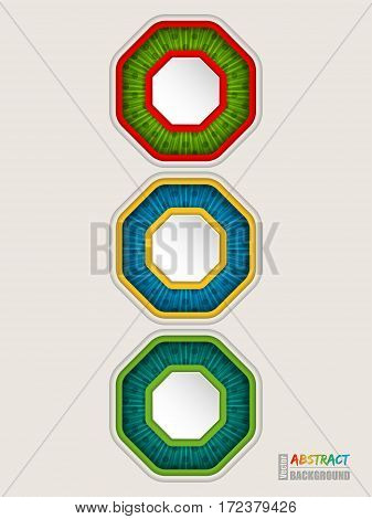 Abstract colorful traffic light concept background with octagon shapes