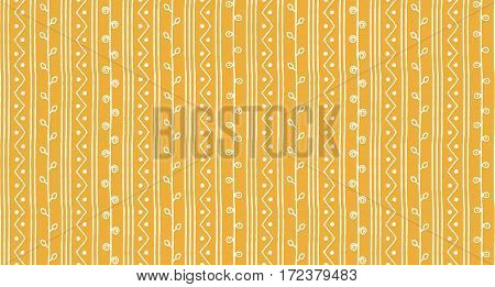 Seamless summer sketch vector pattern. White vertical twigs lines and zigzags with circles on yellow background. Hand drawn abstract african style texture