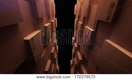 Cardboard Boxes In A Store Warehouse