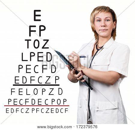 Female doctor near eyesight test chart over white background