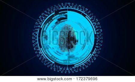 Light Abstract Technology Background. Fingerprint Scan.