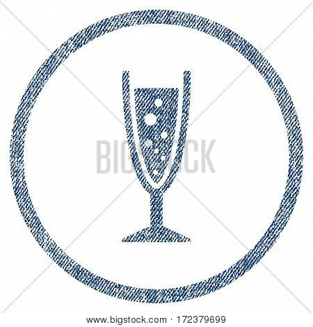 Champagne Glass textured icon for overlay watermark stamps. Blue jeans fabric vectorized texture. Rounded flat vector symbol with dust design.