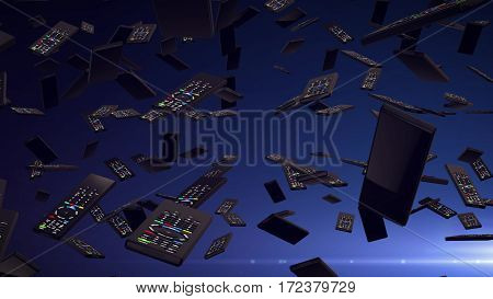 3d rendering of Remote controllers falling down.