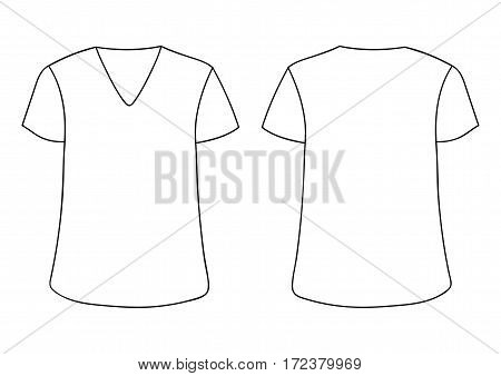 White vector male's, woman's V-neckline T-shirt. Front and back sides. mock up. Isolated on white