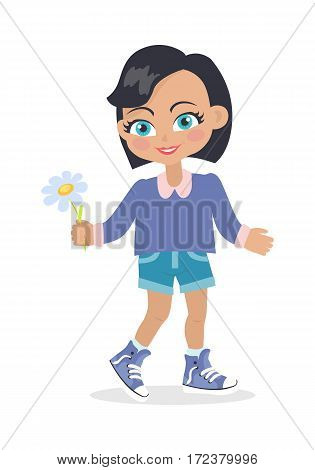 Smiling girl with black bob haircut with dark forelock. Nice female person with chamomile flower. Green eyes. Cartoon style. Kindergarten concept. Spring beauty. Flat design. Vector illustration