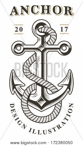 Vintage anchor emblem on white background. Text is on the separate layer.