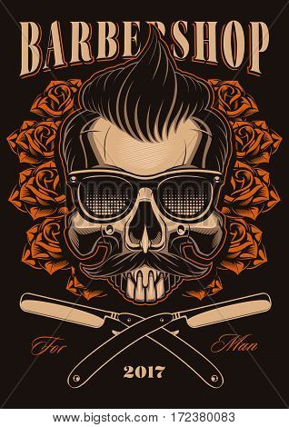 Barber Shop illustration Skull with roses and straight razors. Hipster skull with hair and mustache.