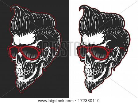 Skull with hair and beard. Fashion skull with glass.