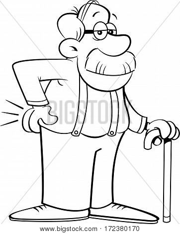 Black and white illustration of an old man leaning on a cane.