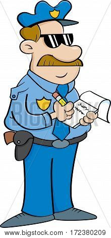 Cartoon illustration of a policeman writing a ticket.