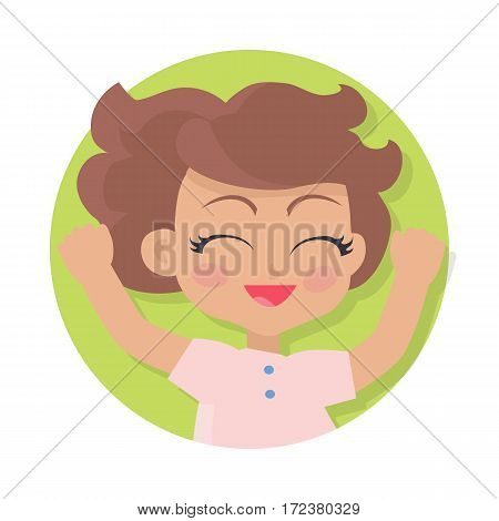 Illustration of isolated girl with short brown wavy hair. Closed eyes. Portrait of nice female person in pink t-shirt. Pink flush on face. Simple cartoon style. Front view. Flat design. Vector