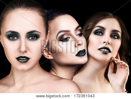 Collage of beautiful woman's faces with smoky eyes over black background
