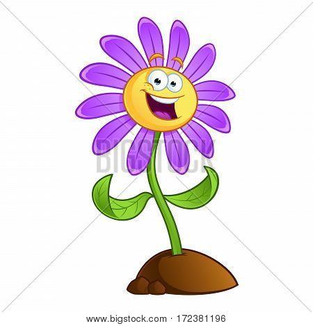 Sympathetic cartoon flower on white background, vector illustration