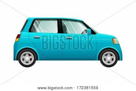 Transport. Illustration of small blue automobile. Four-wheeled car with fuel economy. Four doors. Silver discus. Convenient mean of transportation in simple cartoon design. Side view. Vector