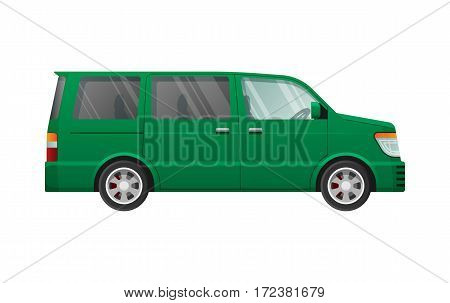 Green minivan in simple cartoon style isolated on white. Side view. Shaded and clear glasses. Speed four-wheeled mean of transportation. Front and back headlights. Flat design. Vector illustration