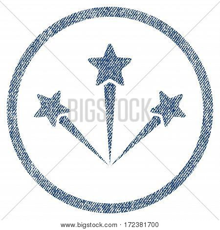 Festive Fireworks textured icon for overlay watermark stamps. Blue jeans fabric vectorized texture. Rounded flat vector symbol with dirty design.