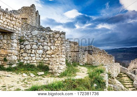 Ruins of Crussol in the Ardeche, France