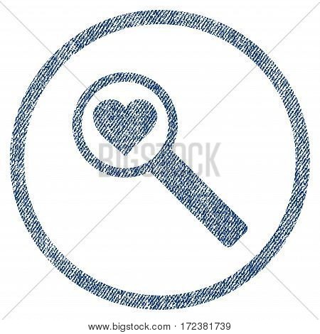 Find Love textured icon for overlay watermark stamps. Blue jeans fabric vectorized texture. Rounded flat vector symbol with unclean design.