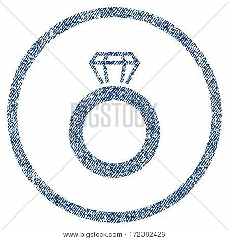 Gem Ring textured icon for overlay watermark stamps. Blue jeans fabric vectorized texture. Rounded flat vector symbol with scratched design.