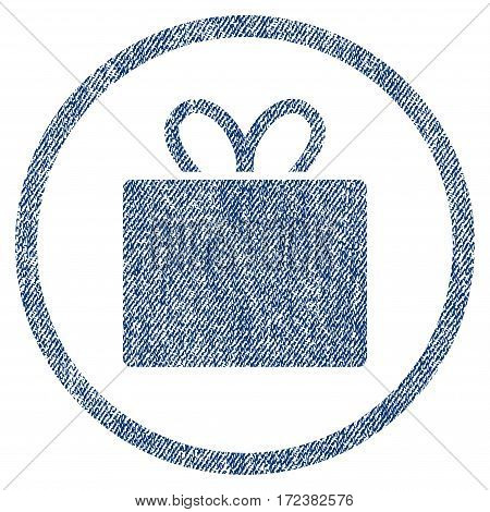 Gift textured icon for overlay watermark stamps. Blue jeans fabric vectorized texture. Rounded flat vector symbol with unclean design. Circled blue ink rubber seal stamp with fiber textile structure.