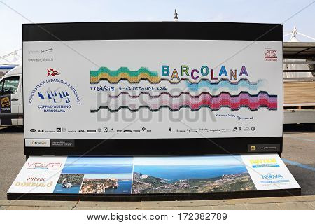 TRIESTE ITALY - OCTOBER 13: Barcolana Regatta Start in Trieste on OCTOBER 13 2014. Billboard for Regatta Sailing From Trieste Italy to Barcelona Spain.
