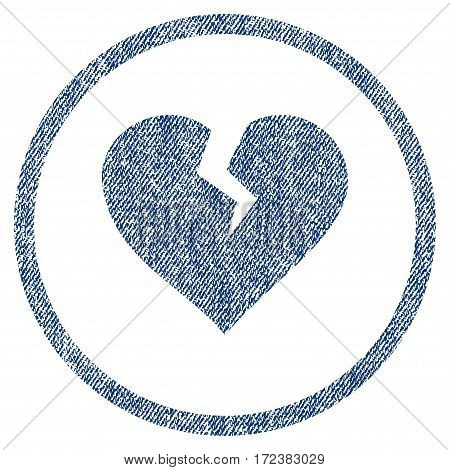 Heart Break textured icon for overlay watermark stamps. Blue jeans fabric vectorized texture. Rounded flat vector symbol with dirty design.