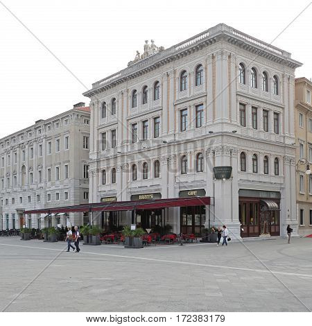 TRIESTE ITALY - OCTOBER 13: Famous Harrys Cafe and Hotel Duchi in Trieste on OCTOBER 13 2014. Harrys Cafe and Grand Hotel Duchi D Aosta at Unity of Italy Square in Trieste Italy.