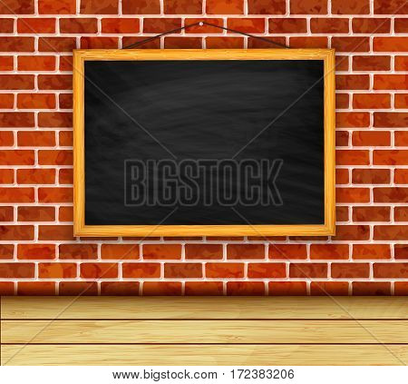 Chalkboard on a brick wall background vector
