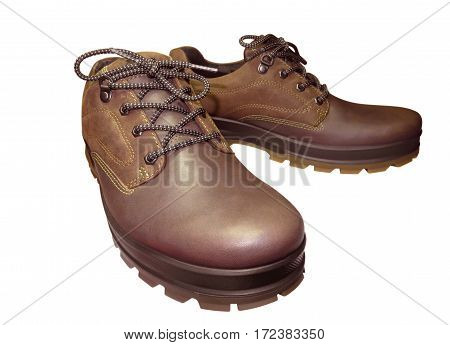Brown boots isolated on white background with Clipping Path