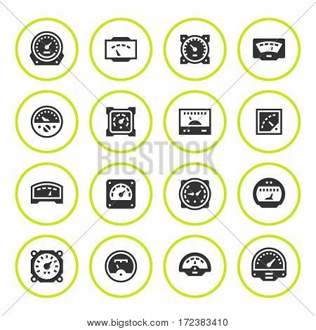 Set round icons of meter isolated on white. Vector illustration