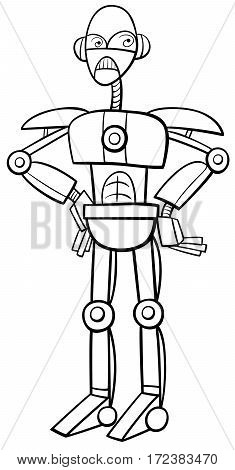 Robot Or Cyborg Coloring Page