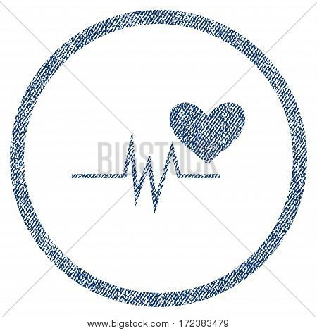 Heart Pulse Signal textured icon for overlay watermark stamps. Blue jeans fabric vectorized texture. Rounded flat vector symbol with dirty design.