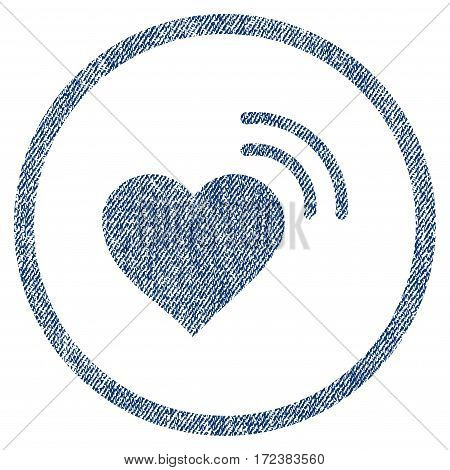 Heart Radio Signal textured icon for overlay watermark stamps. Blue jeans fabric vectorized texture. Rounded flat vector symbol with scratched design.