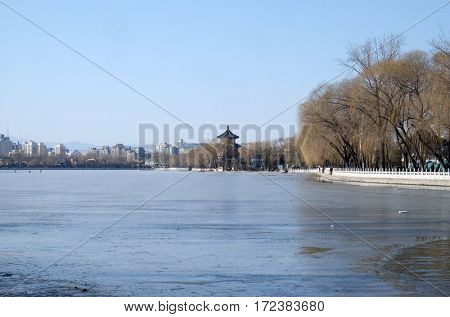BEIJING - FEBRUARY 23: Houhai lake, the area is also known as Shichihai and consists three lakes in the north of Beijing, China, February 23, 2016.