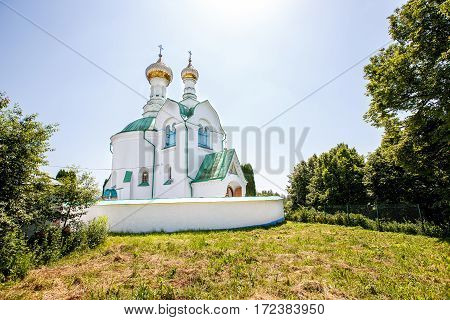 old whitewashed church in Ukraine summer day June 9 2014 Ukraine
