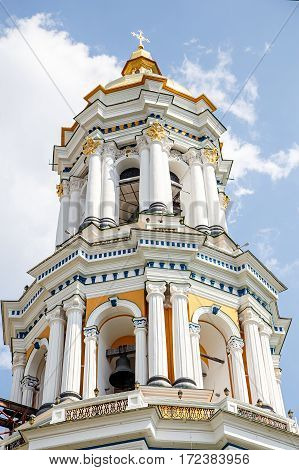 Kiev Pechersk Lavra bell tower with a gilded cross August 12 2014