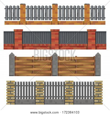 Different seamless wooden and brick fences designes on white background. Element for your design. Modern flat style. Isolated vector illustration.