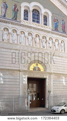 TRIESTE ITALY - OCTOBER 14: Saint Spyridon Church in Trieste on OCTOBER 14 2014. Serbian Orthodox Parish of St. Spyridion Thaumaturge at Genoa Street in Trieste Italy.