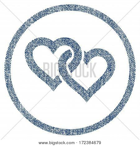 Linked Hearts textured icon for overlay watermark stamps. Blue jeans fabric vectorized texture. Rounded flat vector symbol with dirty design.