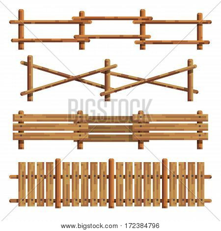 Different seamless wooden fances designes on white background. Element for your design. Modern flat style. Isolated vector illustration.