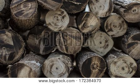 Wood cut into pieces firewood, wooden, stack.