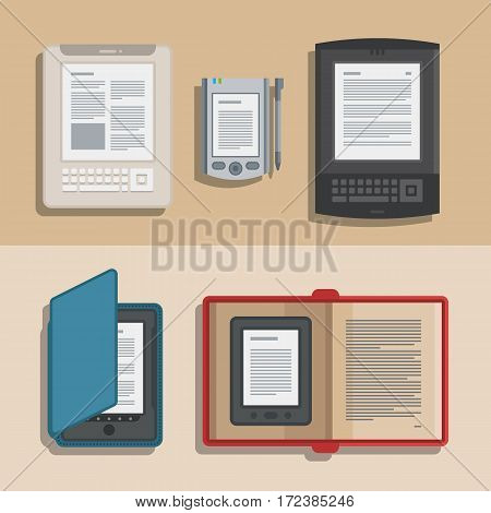 Electronics reader books collection. New 3d colorful icons. Mobile tablet devices. Modern gadgets. Isometric flat badge. Education symbol logo. Illustration vector art.