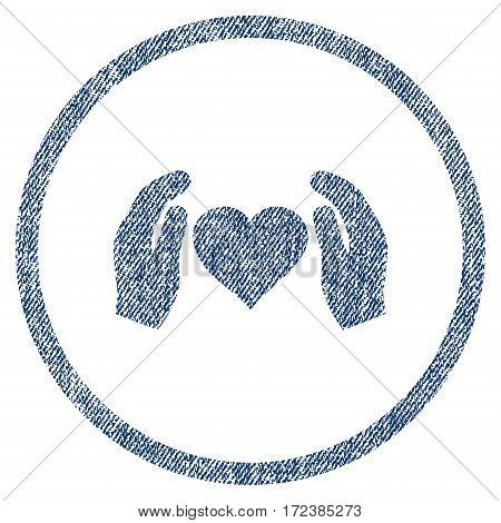 Love Care Hands textured icon for overlay watermark stamps. Blue jeans fabric vectorized texture. Rounded flat vector symbol with unclean design.