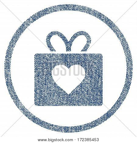 Love Gift textured icon for overlay watermark stamps. Blue jeans fabric vectorized texture. Rounded flat vector symbol with dirty design.